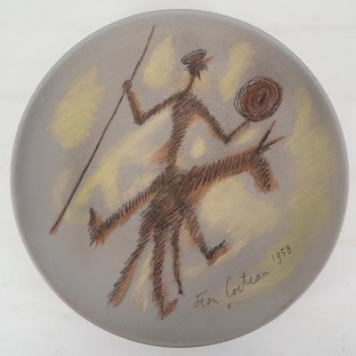 Jean COCTEAU - Don Quichotte, Original signed ceramic