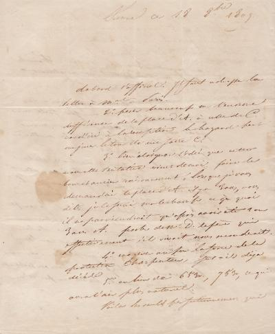 Stendhal Autograph Letter Signed To His Sister Pauline