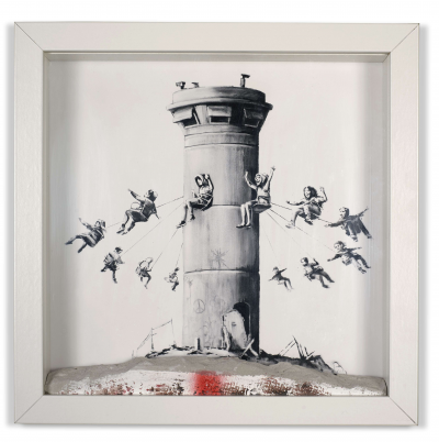 BANKSY (after) - Souvenir from the Walled off Hotel, Box Set, 2017, print on paper and piece of concrete