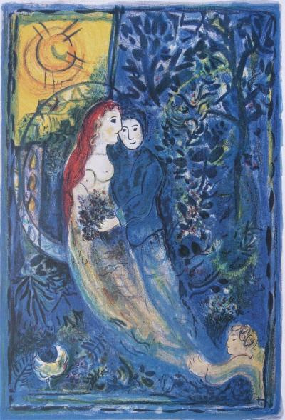 Marc CHAGALL : Wedding day  - Signed and numbered LITHOGRAPH #500 copies