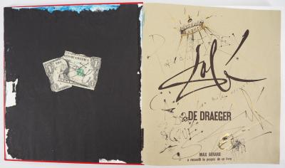 Salvador DALI - Double dedication with drawing, collage, signed