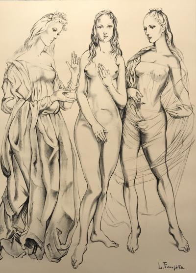 Tsugouharu Foujita (after) - Lithograph - The 3 graces - 1960