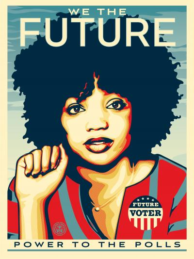 Shepard Fairey - We the future (power to the polls), lithograph with certificate + bonus