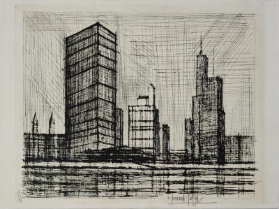 Bernard BUFFET: New York: United Nations Building, Original signed etching