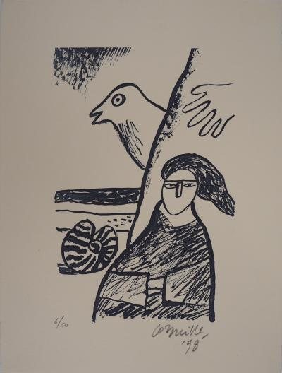 Guillaume Corneille (1922-2010)  Woman with bird, 1998  Original lithograph