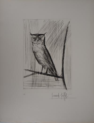 Bernard BUFFET - The owl, original signed etching