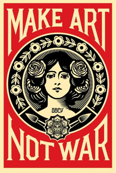 Shepard Fairey (OBEY) - Make Art Not War -  Lithographie signée au crayon