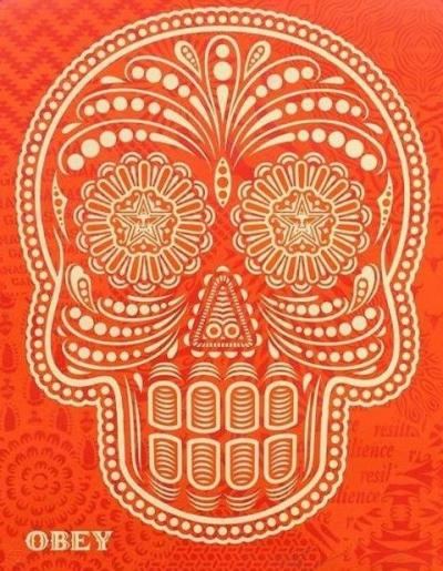 Shepard Fairey (OBEY) & Ernesto Yerena - Day of the Dead Skull, Orange, 1/2, mixed media, signed 2018