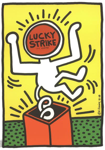 Keith HARING (d'après) - Lucky Strike, 1984 - Impression offset