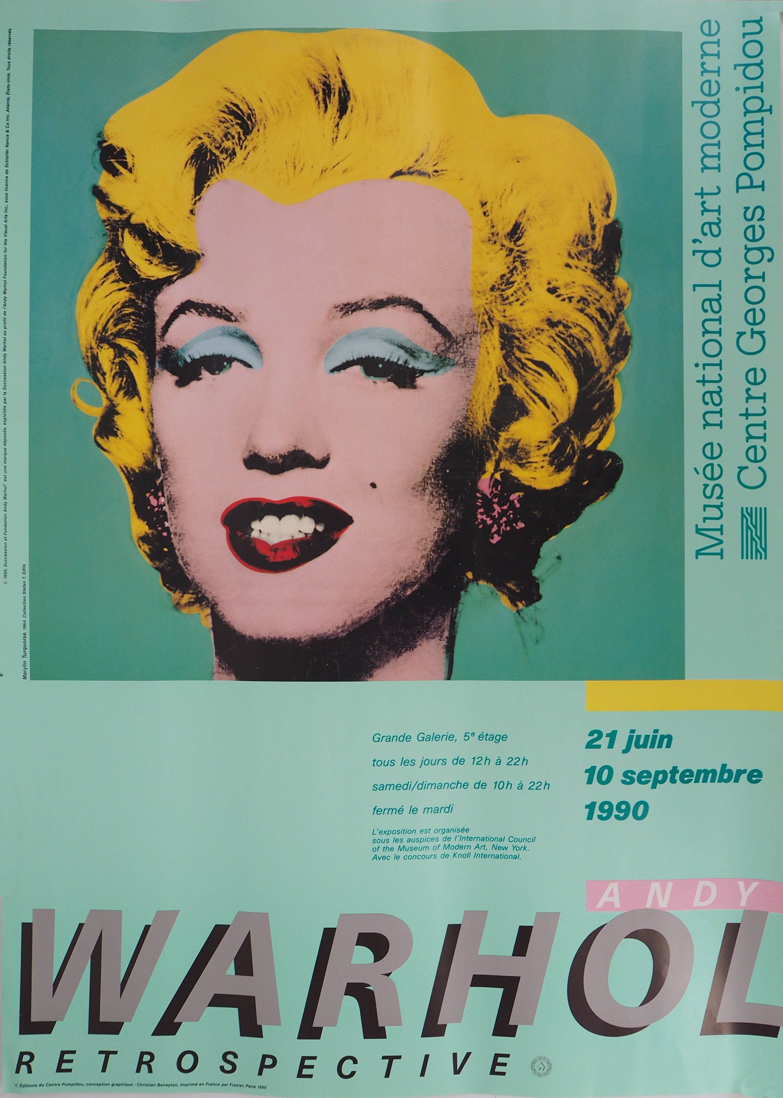 Andy Warhol Prix De Vente andy warhol (after) - turquoise marylin, pompidou, 1990