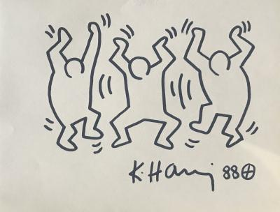 Keith HARING (1958-1990) - Felt drawing with 1988 certificate