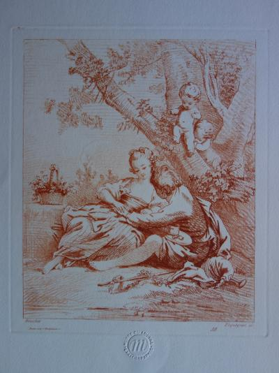 François BOUCHER (after) - Couple in love, engraving