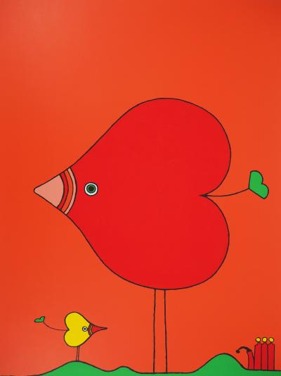 Charles LE BARS<br /> Heart-bird, 1978, original screenprint