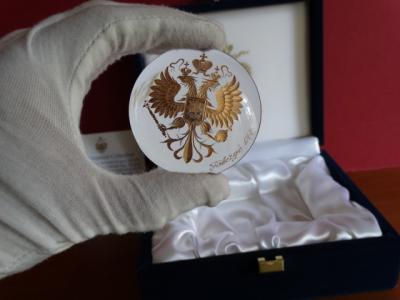 Imperial Romanov Eagle numbered - Fabergé - rare original - Crystal, hand engraved-24k gold finished