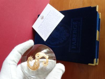 Imperial Romanov letter paperweight - Fabergé - rare original - Crystal, hand engraved-24k gold finished