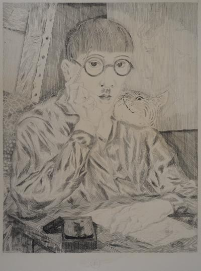 Tsugouharu FOUJITA (after) - Portrait of the artist, signed engraving