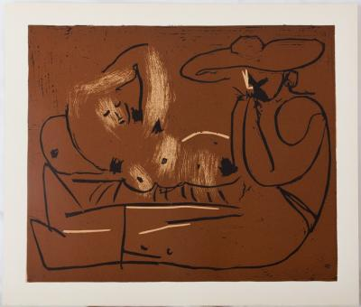 Pablo PICASSO (after) - Nude woman and guitarist, Linocut