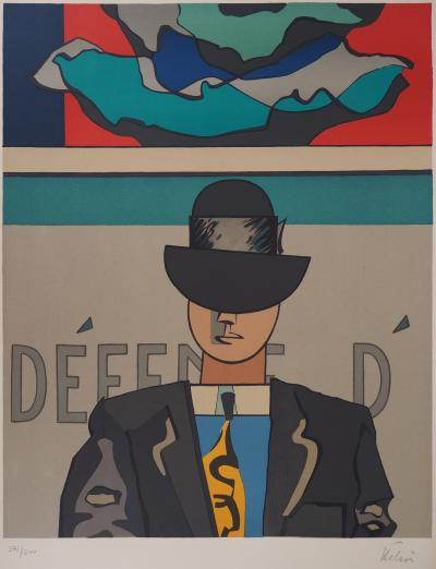 Jean HELION - Man with bowler hat, original signed lithograph