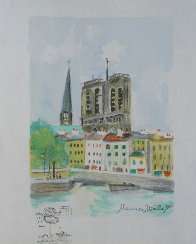 Maurice UTRILLO (1883-1955) - Notre-Dame, rare original colour lithograph on Japan paper