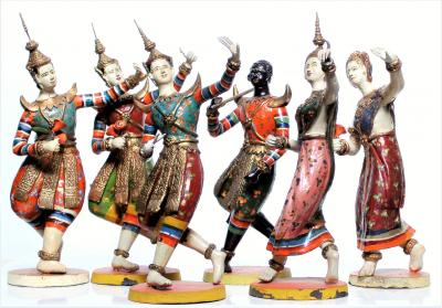 Thailand, early 20th century - Rare figurines composed of a group of dancers of Ramakien