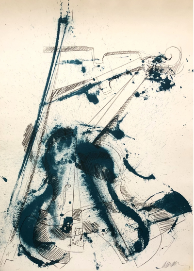 ARMAN - Blue Violin, 1974 - Original lithograph handsigned and numbered