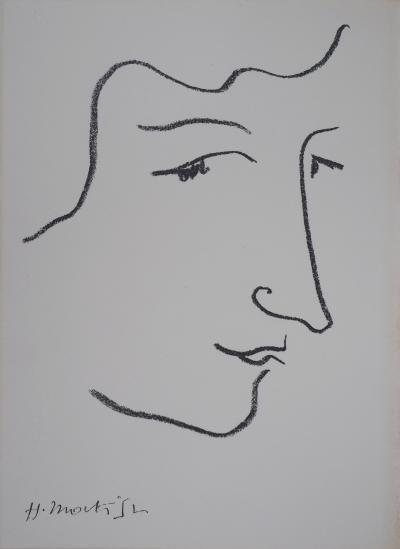 Henri MATISSE (after) - Woman on a red background, signed lithograph