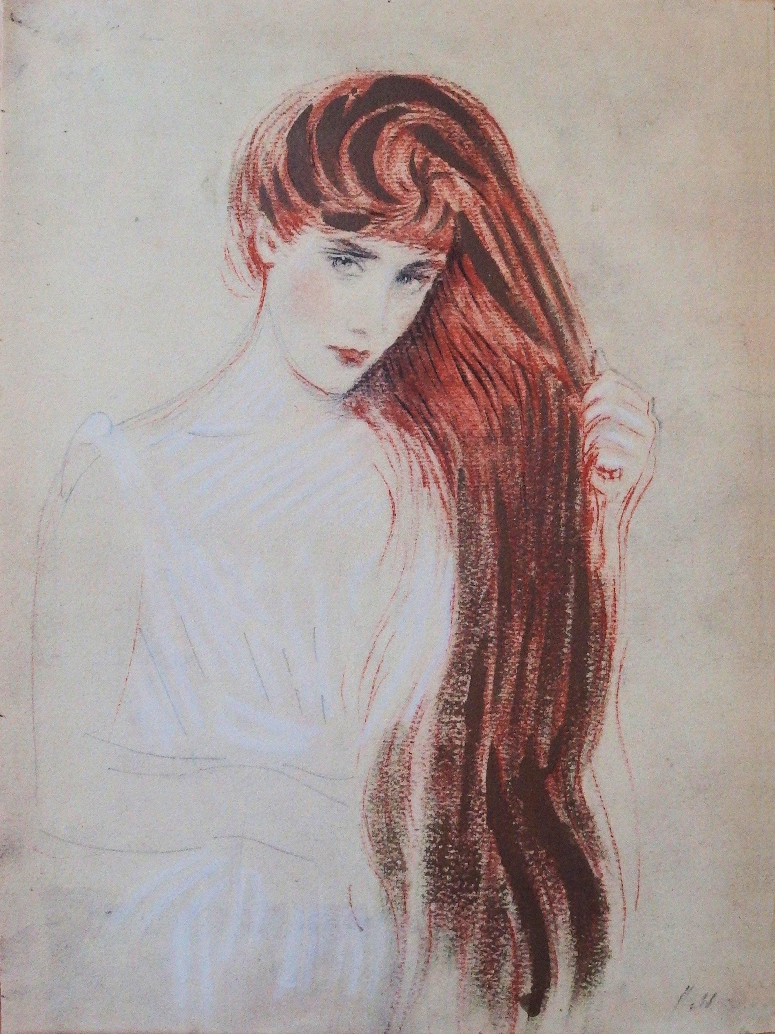 Paul Cesar Helleu Femme Rousse Lithographie Signee Art Moderne Plazzart