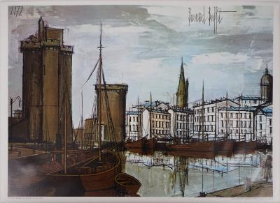 Bernard BUFFET - La Rochelle, the Old Harbour, lithograph on canvas, signed