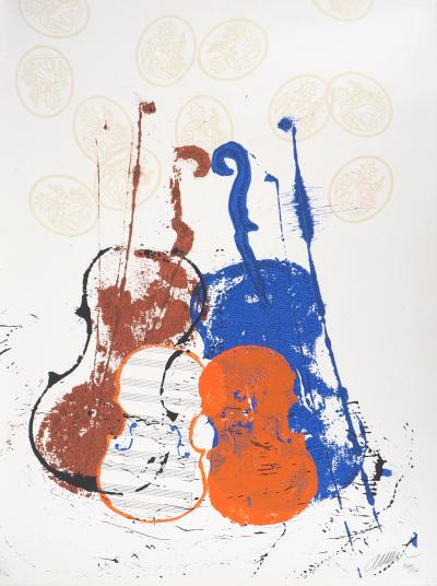 ARMAN - Accumulations of violins and brushes, original signed lithograph