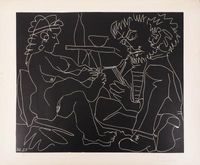 Pablo Picasso - Painter and model with hat, original linotcut, signed in pencil