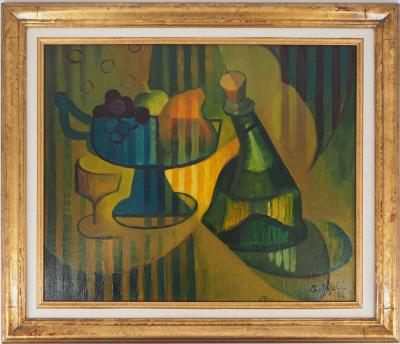Louis Toffoli : Compote dish and bottle - Signed oil on canvas