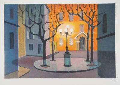Louis TOFFOLI :  Furstenberg Place in Paris - Original lithograph, Signed