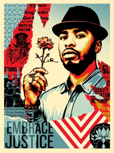 Shepard FAIREY (Obey) - Embrace Justice, 2018, Signed and number silkscreen