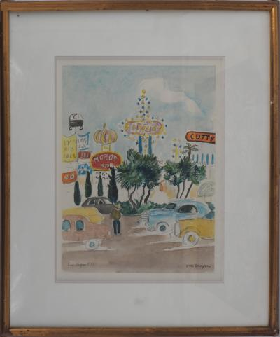 Yves BRAYER - Las Vegas, the Strip, original signed watercolour