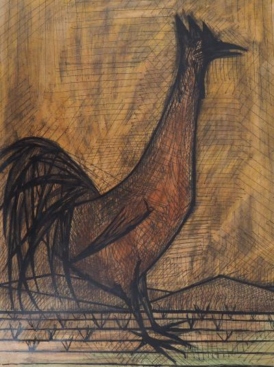 Superb Bernard Buffet The Rooster 1960 Lithograph Signed In Home Interior And Landscaping Palasignezvosmurscom