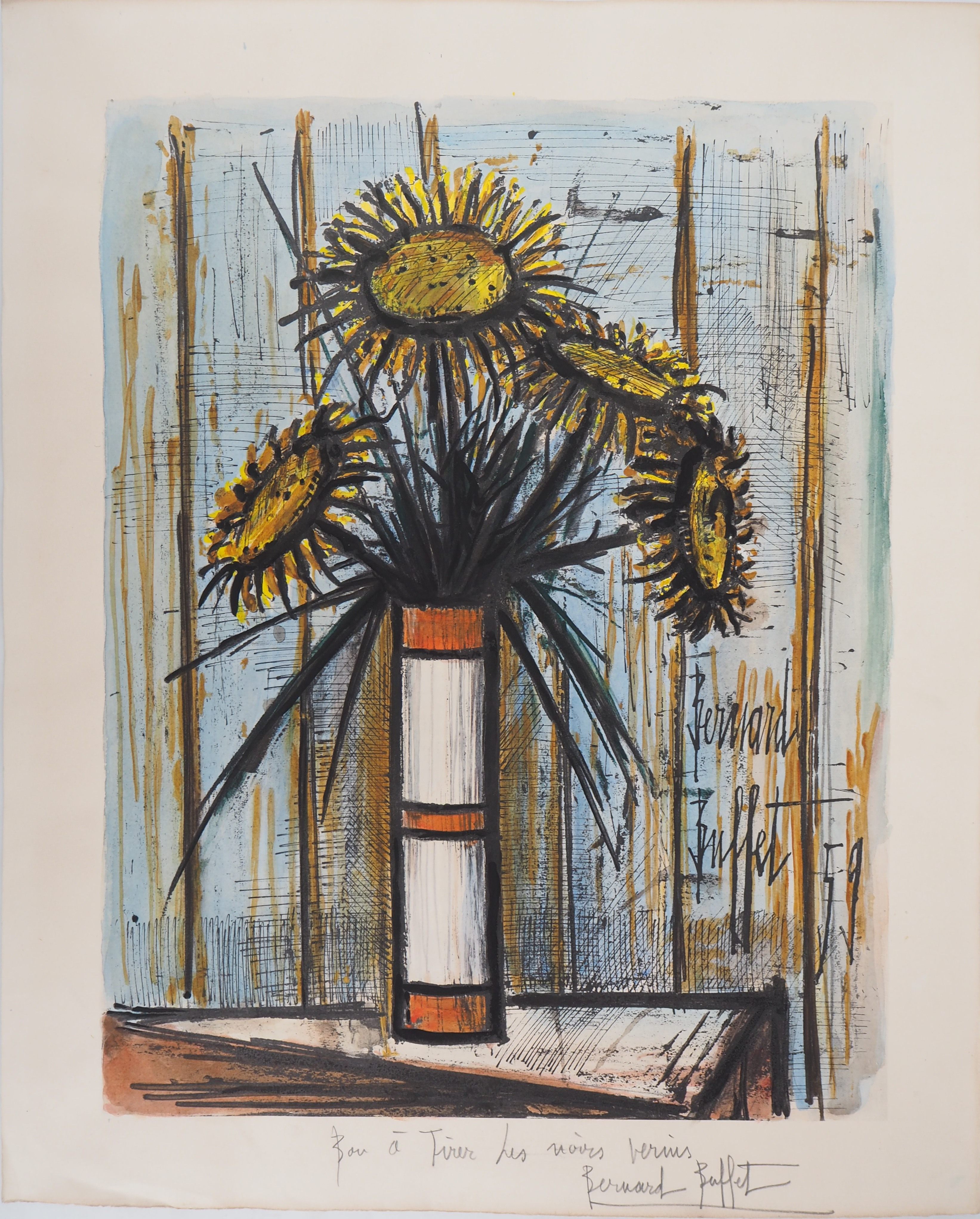 Incredible Bernard Buffet Sunflower Bouquet Lithograph Signed In Home Interior And Landscaping Palasignezvosmurscom