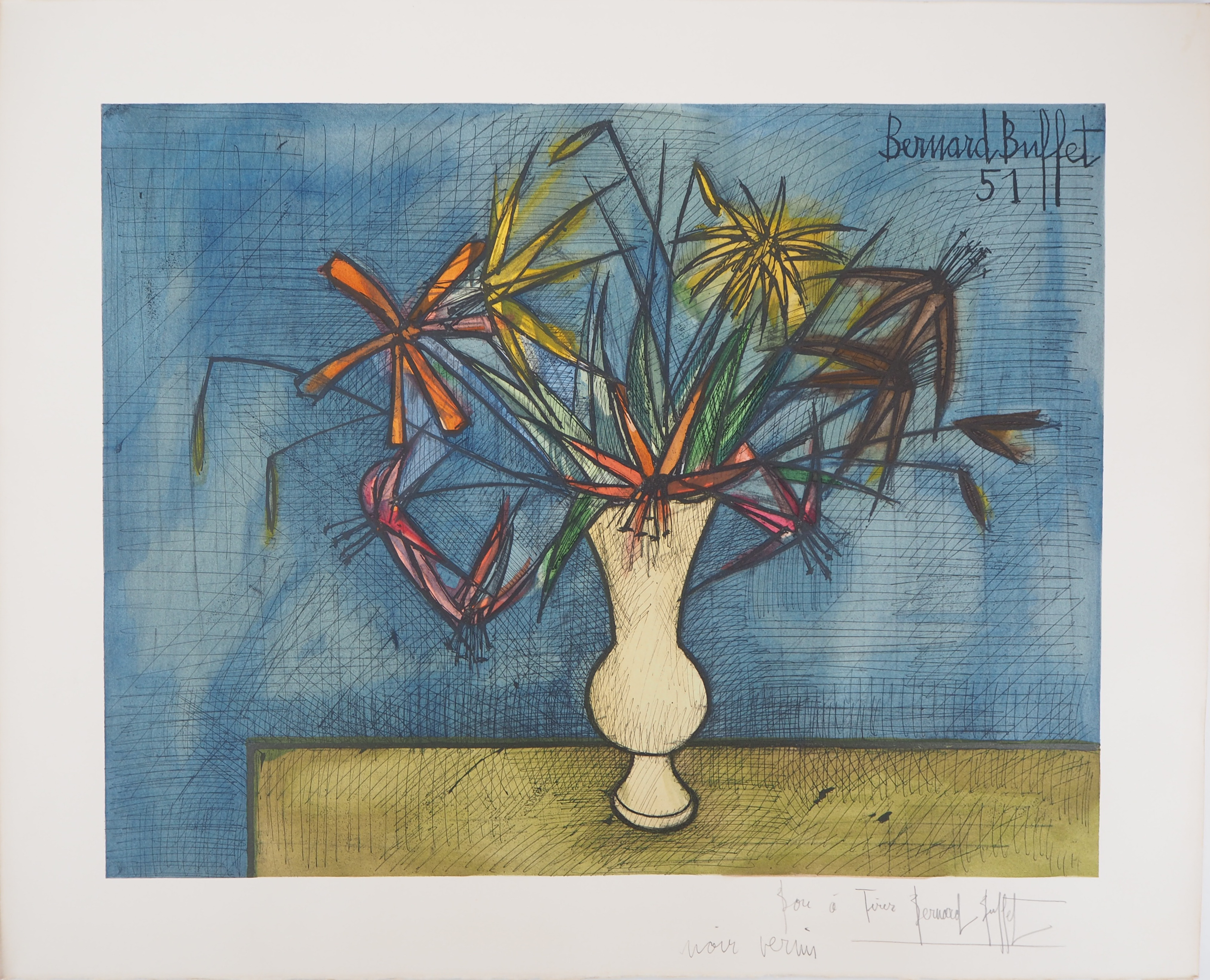 Superb Bernard Buffet Flower Bouquet Lithograph Signed In Home Interior And Landscaping Ologienasavecom
