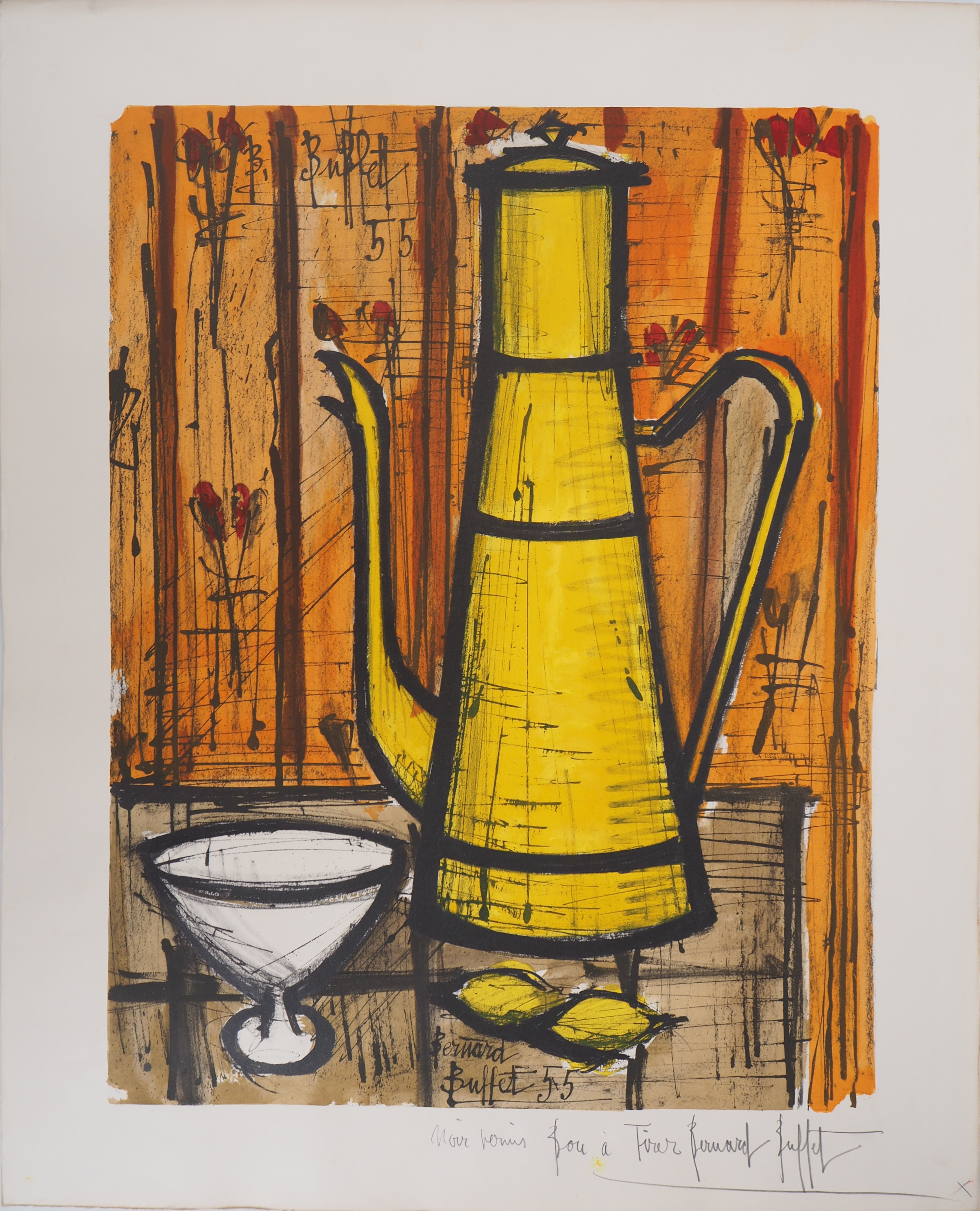 Incredible Bernard Buffet The Yellow Coffee Maker 1960 Lithograph Home Interior And Landscaping Palasignezvosmurscom