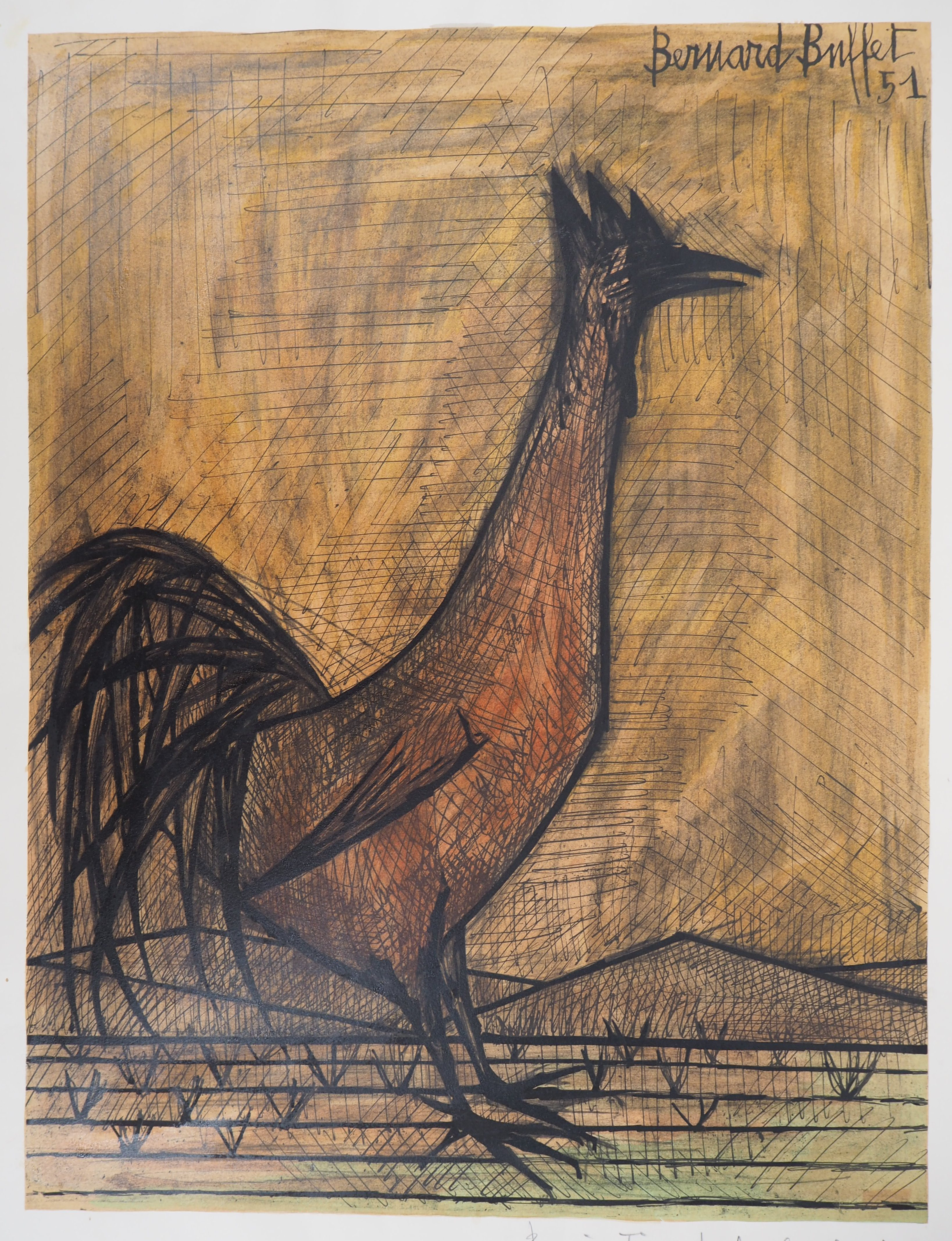 Groovy Bernard Buffet The Rooster 1960 Lithograph Signed In Home Interior And Landscaping Palasignezvosmurscom