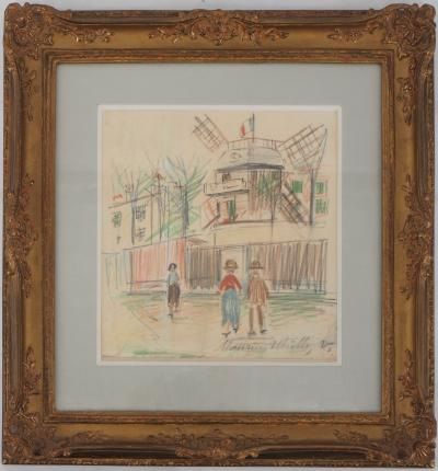 Maurice Utrillo  - The Moulin de la Galette, original signed drawing