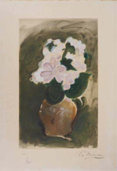 Georges BRAQUE - The Pink Bouquet, 1955, original engraving signed in pencil