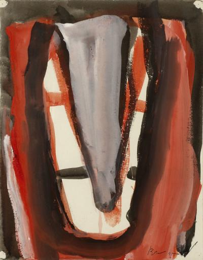 Bram van Velde - Red Composition, 1978, gouache on paper