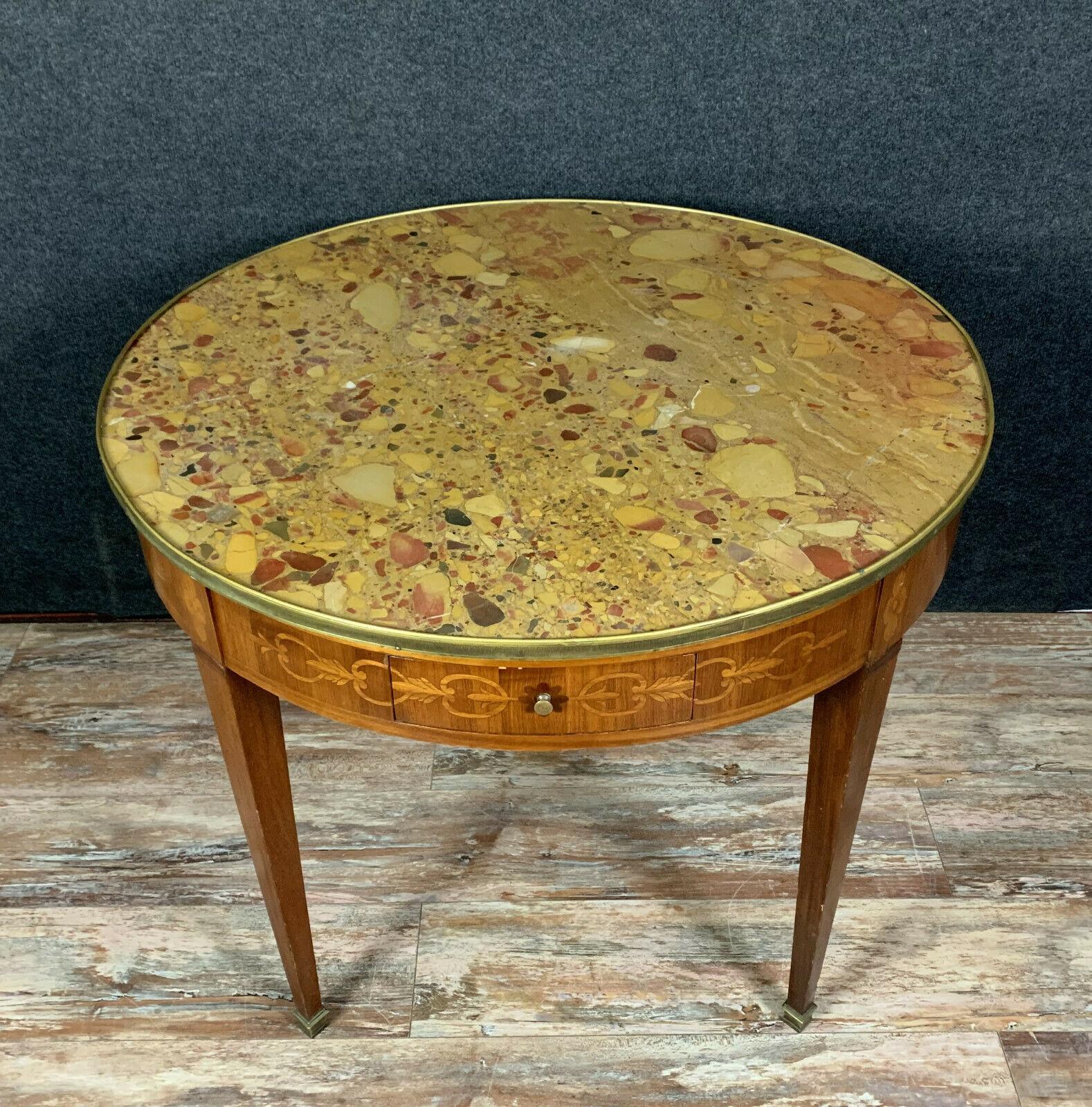 Table Bouillotte Louis Xvi En Marqueterie De Bois Precieux