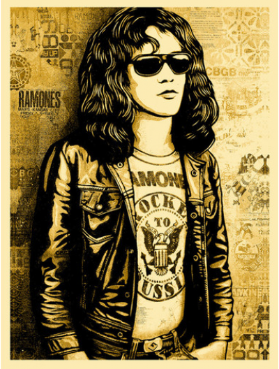 Shepard FAIRET (Obey) - Tommy Ramone (Gold), 2016 - Handsigned silkscreen