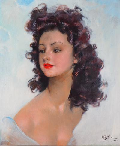 Jean-Gabriel DOMERGUE - Smiling Model - signed oil on canvas