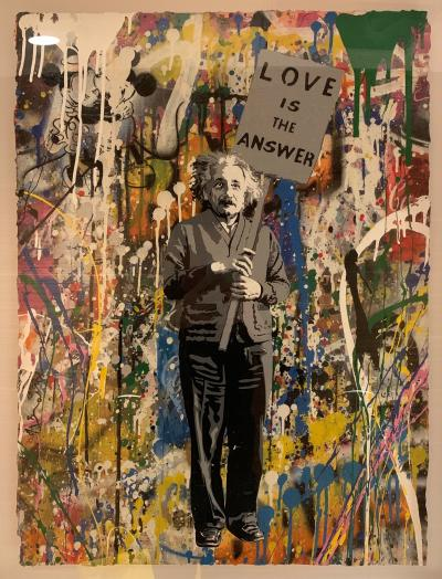 Mr. Brainwash (Thierry Guetta) - Albert Einstein, Love is the answer, 2017 - Mixed media signed