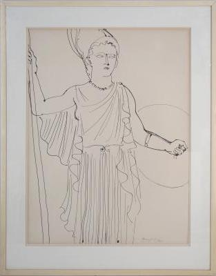 Raoul DUFY - Athena (The Electricity Fairy) - large signed drawing