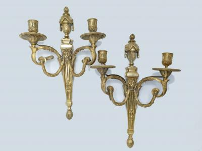France, second half of the 19th century - Pair of Louis XVI-style bronze sconces