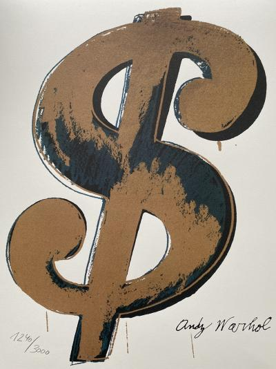 Andy WARHOL (d'après) - Dollar Sign gold, 1984,  Grano-lithographie