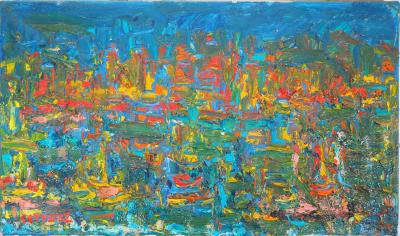 André COTTAVOZ - Nighttime on the Harbour of St Tropez, circa 1960 - signed oil on canvas